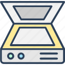 computer scanner, electronics, image scanner, scanner, scanner machine icon