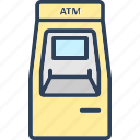 atm machine, automated teller, cash dispenser, cash machine, cash point icon icon