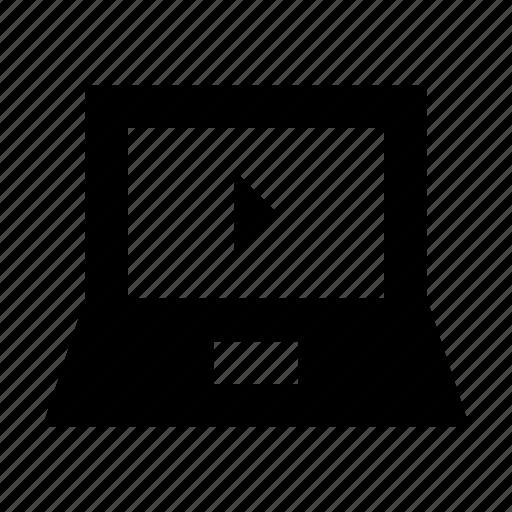 laptop, notebook, online media, online multimedia, online video icon