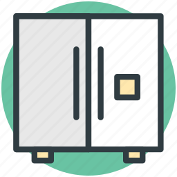 double door fridge, electronics, freezer, home appliance, refrigerator icon