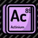 actinium, atom, atomic, chemistry, element, mendeleev icon
