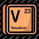 atom, atomic, chemistry, element, mendeleev, vanadium icon
