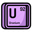 uranium, element, atomic, atom, mendeleev, chemistry