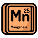 atom, atomic, chemistry, element, manganese, mendeleev icon