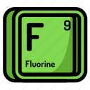 atom, atomic, chemistry, element, fluorine, mendeleev icon