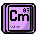 atom, atomic, chemistry, curium, element, mendeleev icon