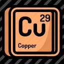 atom, atomic, chemistry, copper, element, mendeleev icon