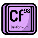 atom, atomic, californium, chemistry, element, mendeleev icon
