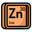 atom, atomic, chemistry, element, mendeleev, zink icon