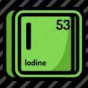 atom, atomic, chemistry, element, iodine, mendeleev icon