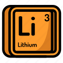atom, atomic, chemistry, element, lithium, mendeleev icon
