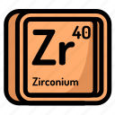 atom, atomic, chemistry, element, mendeleev, zirconium icon