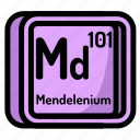 atom, atomic, chemistry, element, mendeleev, mendelenium icon