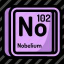 atom, atomic, chemistry, element, mendeleev, nobelium icon