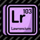 atom, atomic, chemistry, element, lawrencium, mendeleev icon