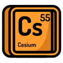 atom, atomic, cesium, chemistry, element, mendeleev icon