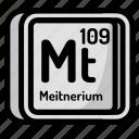 atom, atomic, chemistry, element, meitnerium, mendeleev icon
