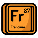 atom, atomic, chemistry, element, francium, mendeleev icon