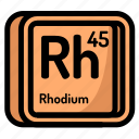 atom, atomic, chemistry, element, mendeleev, rhodium icon