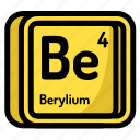 atom, atomic, berylium, chemistry, element, mendeleev icon