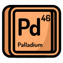 atom, atomic, chemistry, element, mendeleev, palladium icon