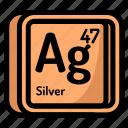 atom, atomic, chemistry, element, mendeleev, silver icon