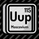atom, atomic, chemistry, element, mendeleev, moscovium icon