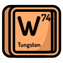 atom, atomic, chemistry, element, mendeleev, tugsten icon