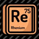 atom, atomic, chemistry, element, mendeleev, rhenium icon