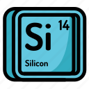 atom, atomic, chemistry, element, mendeleev, silicon icon