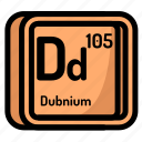 atom, atomic, chemistry, dubnium, element, mendeleev icon