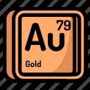 gold, element, atomic, atom, mendeleev, chemistry
