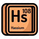 atom, atomic, chemistry, element, hassium, mendeleev icon