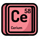 atom, atomic, cerium, chemistry, element, mendeleev icon