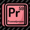 atom, atomic, chemistry, element, mendeleev, praseodymium icon