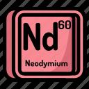 neodmium, element, atomic, atom, mendeleev, chemistry icon