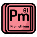 atom, atomic, chemistry, element, mendeleev, promethium icon
