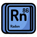 atom, atomic, chemistry, element, mendeleev, radon icon