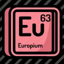 atom, atomic, chemistry, element, europium, mendeleev icon