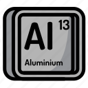 aluminium, atom, atomic, chemistry, element, mendeleev icon