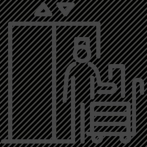 bellboy, elevator, floor, lift, waiting icon
