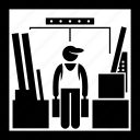 carrying, elevator, full, lift, objects, things, worker icon