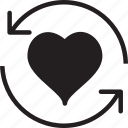 fill, heart, refresh icon