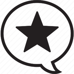 comment, fill, star icon