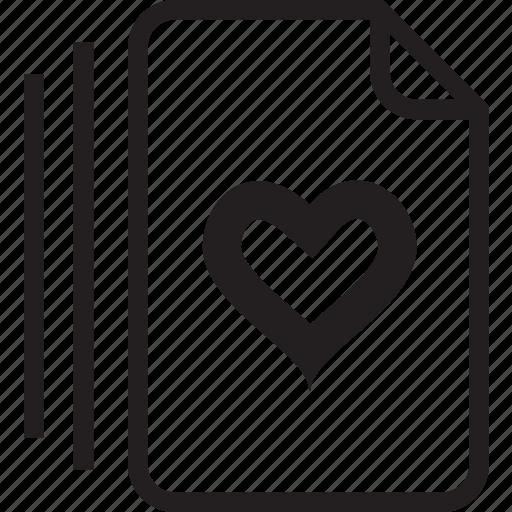 documents, heart icon
