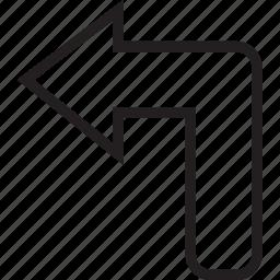 left, turn icon
