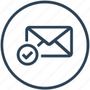 approved, check, email, envelope, inbox, letter, mail icon