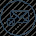 delete, email, envelope, inbox, letter, mail, reject