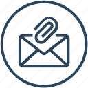 attachment, clip, email, envelope, inbox, letter, mail icon