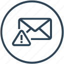 warning, envelope, inbox, email, mail, attention, alert icon
